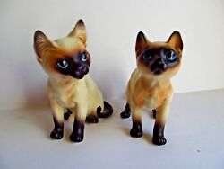 Set of 2 Large Siamese Cat Figurines Numbered not Marked