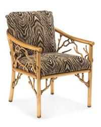 24 W Branches Arm Chair Old Gold Finished Metal Branch Frame Zebra Print