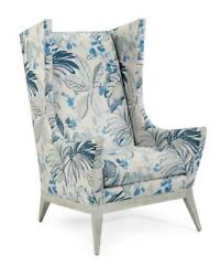 31 W Wing Back Chair Floral Pattern Fabric Weathered Hardwood Legs Hand Crafted