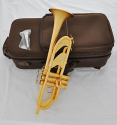 Customized Satin Gold Plated Trumpet Bb Horn 4-7/8 Germany Brass Professional