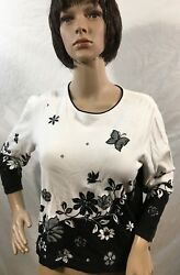 Samantha GreyEmbellishedPullover Floral Top Shirt With Butterfly#x27;s Size Small $18.72