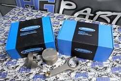 Supertech Pistons And Rods For 99-00 Honda Civic Si B16 84.5mm Bore 9.61 Comp