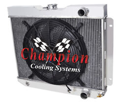 4 Row Best Cooling Champion Radiator W/ 16 Fan For 1965 Chevrolet Bel Air