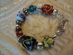 Vintage Sterling Silver Beaded Bracelet--925--very Cool--