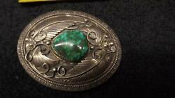 Navajo Pat Platero Green Turquoise Belt Buckle Sterling Silver Signed