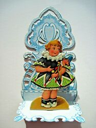 1939 Die Cut Antique Valentine Card W/ Girl Holding A Punch And Judy Puppet
