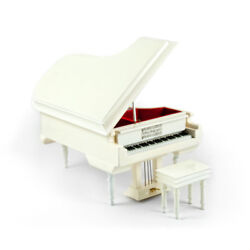 Sophisticated 18 Note Miniature Musical Hi - Over 400 Song Choices - Gloss White