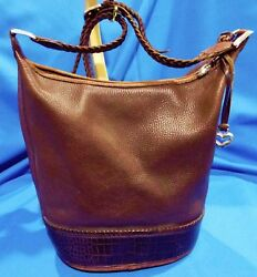 Great Brighton large bucket Bag leather with braided shoulder strap coach-esqe
