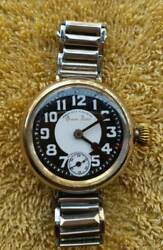 1910 30's West End Watch Antique Hand Winding Trench Wristwatch Queen Anne