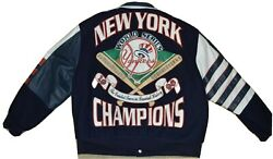 Rare Vintage Mlb Official Ny Yankees 1998 World Series Wool Leather Jacket-xl