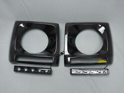 Carbon Fiber Headlight Covers With Led For Mercedes W463 G63 G65 Brabus Style
