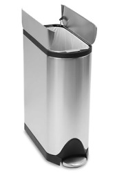 Fingerprint Proof Butterfly 45 Liter Step Trash Can Brushed Stainless Steel New