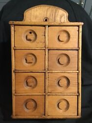 Vintage Wooden Spice Cabinet Wall Hung- 8 Drawer