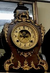 Antique 1800's Waterbury Cast Iron Mantle And Wall Clock Model Louis French Rare