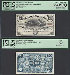 Argentina Face And Back 20 Centavos Fuertes 1-8-1873 Ps644p Proof Uncirculated