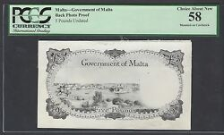 Malta Back 5 Pounds Undated Pick Unlisted Photograph Proof About Uncirculated