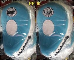 Windy Focus Mitts Curved Pp-10 Blue Genuine Leather Muay Thai Kick Boxing Mma