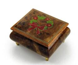 Handcrafted 18 Note Sorrento Music Box With Christmas Theme Wood Inlay