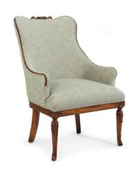 28 W Arm Chair Occasional Chair Hand Carved Hardwood Embroidered Fabric
