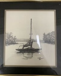 Original Pencil Sketch Father And Son Small Sailing Boat Signed By Warren 84