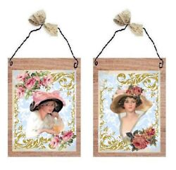 💗 Victorian Lady Pictures Classy Paris Women Hats Roses Wall Hangings Plaques