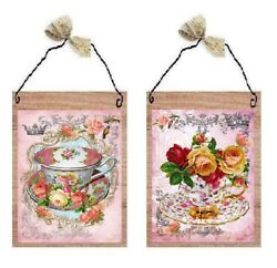 Victorian Floral Tea Cups Pictures Pink Roses Paris Mugs Wall Hangings Plaques