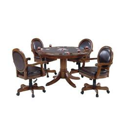 Multi-Functional Brown Cherry Warrington Cherry 5-Piece Gaming Table and Chairs
