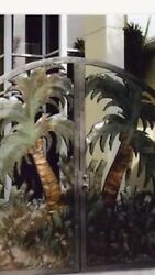 COPPER DOUBLE FRONT ENTRY GATES PALMS TROPICAL LOOK
