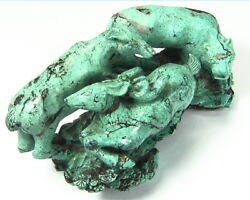 Turquoise Natural Genuine Gemstone Carved Lion Chasing A Bow In A Sculpture
