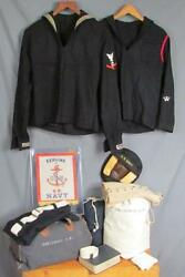 Vintage Wwii Us Navy Uniform And Personal Gear Group Rf Dreisbach Usn 1940s Bags +