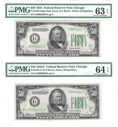 50.00 1934 Fed.res.note Changeover - Chicago Fr.2102gdgs/103-g Pmg 63/4 Epq