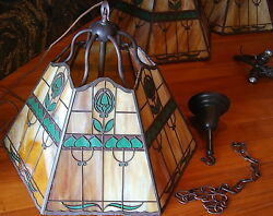 Handel Abstract Tulip Ceiling Fix 1 Of 2 Availablelampmissionarts And Crafts