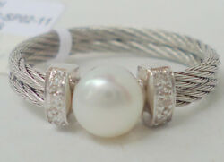 New 395 Alor 6.5 Pearl Diamond 18kt White Gold Grey Stainless Steel Band Ring