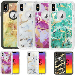 Marble Clear Defender Transparent Case For Iphone Xs Max Works Fit Otterbox Clip