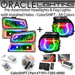 Oracle Dual Halo Headlights And Fog Lights For 03-06 Chevrolet Silverado Colors