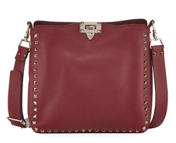 Valentino Rockstud Red Small Utilitarian Hobo Shoulder Messenger Crossbody Bag