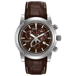 Citizen Eco-drive Menand039s Chandler Chronograph Brown Leather 42mm Watch At0550-11x