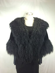 Soft-amp-supple-baby-lamb-fur-lady-cape-trimmed-w-long-cashmere-fur-free-shipg
