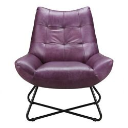 32 W Lounge Chair Purple Quilted Top Grain Leather Modern Matte Iron Legs
