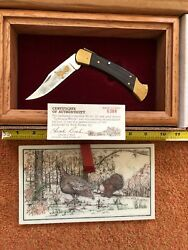 """Buck Model 110 With Gold Etched """"turkeys In Woods"""""""