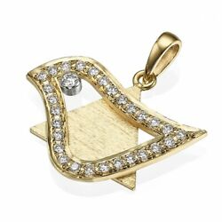 18k Gold Star Of David Jewish Necklace Pendant Dove Of Peace Charm