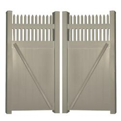 Khaki UV Protected Tremont 7.4 ft. W x 7 ft. H Vinyl Privacy Double Fence Gate