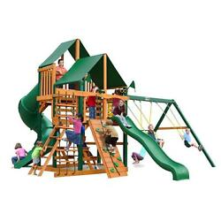 Brown Wood Cedar with Sunbrella Canvas Forest Green CanopyGreat Skye I Playset