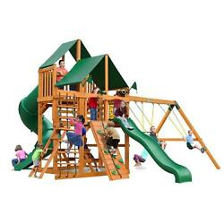 Cedar 13 ft H Great Skye I Playset with Sunbrella Canvas Forest Green Canopy