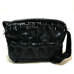 AUTHENTIC CHANEL Crossbody Embossed Messenger Bag Shoulder Bag Black Nylontweed