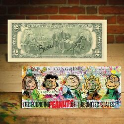 PEANUTS Snoopy FOUNDING FATHERS Genuine U.S. $2 Bill Pop Art SIGNED by Rency