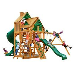 Gorilla 2 Slides Rock Wall Great Skye I Tree house Cedar Swing Wooden Play Set