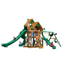 BrownTan Cedar 13-ft Great Skye II with Timber Shield and Wood Roof Playset