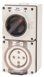 Iso Switched Socket 500v 5-round Pin Standard Baseresistant White-10a20a Or32a