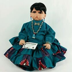 Signed Native American Indian Porcelain Doll By Artist Louann Paul With Coa